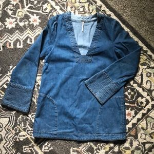 Free People Denim Tunic Pockets Bell Sleeve Top